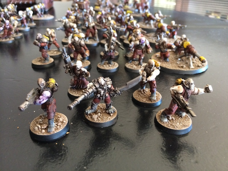 Blood's pact infantry squad (with an old school mini in the center)