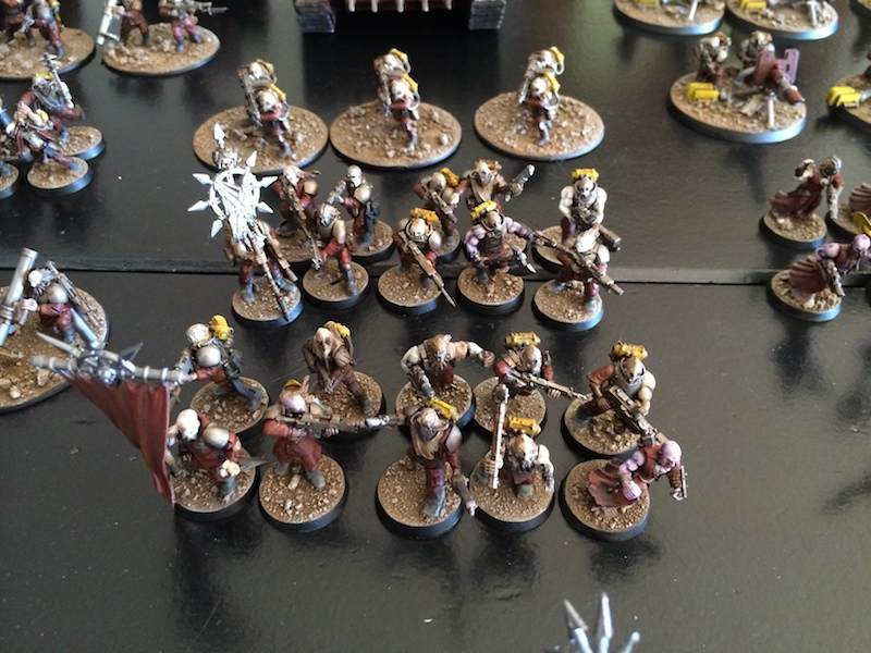 Blood's pact infantry squads with flamers and standards